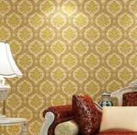 European Fashion Wallpaper Roll PVC Glitter Damask Wall paper For Living room Bedroom Sofa TV Backdrop 10m/roll