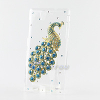 Luxury Blue Peacock Diamond Bling Crystal Clear Hard Back Case For Sony Xperia C3 Cover Sony Xperia C3 Case Cover