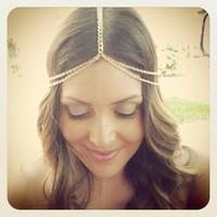 2014 New Fashion Gold Head Chain Pieces Women Bohemia Headpiece Headband Metal Chain Hair Head Wrap Jewelry Wholesale