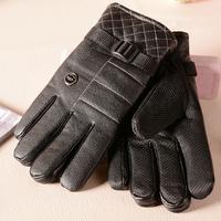 yangzi-106   Men's PU three line deduction plus non-slip leather gloves warm thick velvet and cashmere travel cold equipment