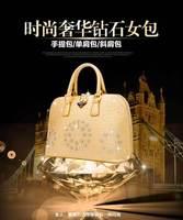 2014 pu with zipper  NEW Designer Bags soft surface diamond shell woman handbag DW-B001