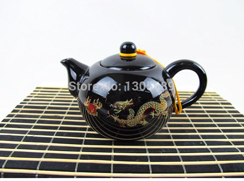 Porcelain tea set pot made in China ceramic tea pot with infuser holes and pot string