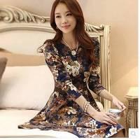 2014 New Fashion Spring Autumn OL Round Neck Floral Print Vintage Elegant Dresses Women Slim Long Sleeve Dress Vestidos D629A9S