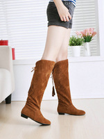 factory wholesale 2015 spring new arrived flat Casual style knee high flat flock charm boots for women T1WLY-823 Large size boot