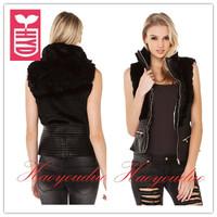 Punk Style!New 2014 brand PU leather splicing Artificial rabbit hair short coat womens slim Waist jacket,zippers vest