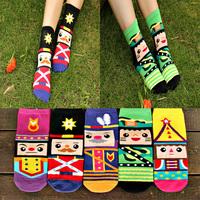 Crazsox good quality cartoon woolen socks women print socks diamond breathable cotton socks