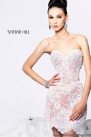 Free Shipping New Arrivals A line Strapless Sweetheart Women Short Lace Cocktail Dress Crystal/Party Dress