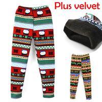 2014 Girls Cartoon Pants Kids Print Leggings Casual Winter Warm Cotton Pants Size 8Y=70/XL,9Y=80/2XL Free Shipping