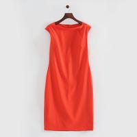 2014 autumn women breif elegant red cotton blend slash neckline knee-length OL brand pencil dress 201405
