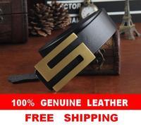 Brass Letter S Buckle Genuine Leather Brand Belts For Men Designer Men belt Business Strap Man Cinto Masculino Ceinture MBT0229