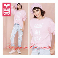 Drop ship!2014 fashion Brand printing letter(ROSE ALL DAY) blouse womens COTTON T-shirt loose leisure tees tops