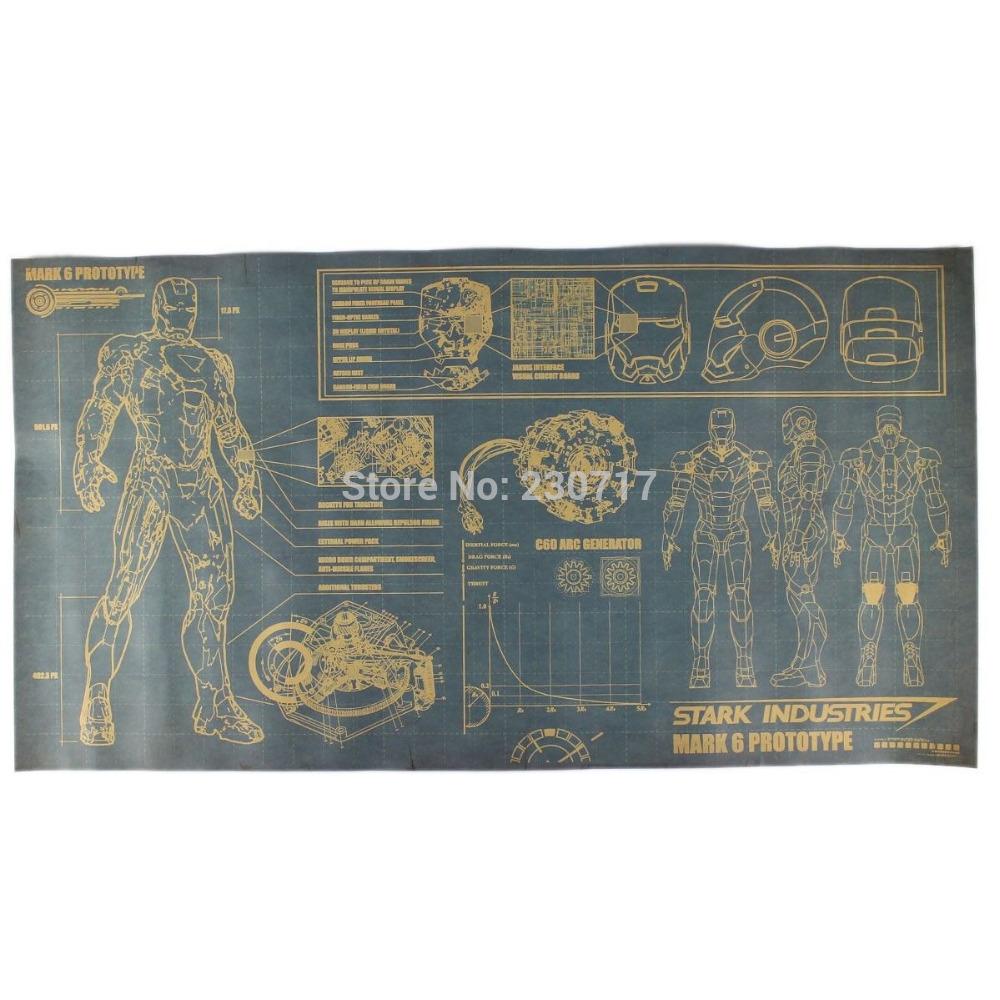 Vintage Banner Paper Poster Iron Man Design Drawings for Home Bar Bedroom decor