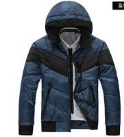 Men New Blue Cotton Down Jackets Winter Thick Parkas Outercoat Male Warm Hooded Coat Grey Thick Coat Outerwear M L XL XXLHotsale