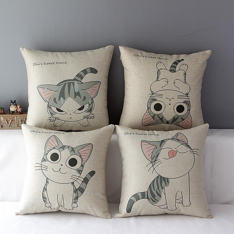 Simple IKEA cat chi's sweet home wedding gift pillow cotton linen throw pillow cushion cover pillowcase/home decor/houseware(China (Mainland))