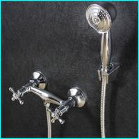 Brass Chrome Bathroom Exposed Shower Faucets Wall Mounted Dual Handle Bath Mixer Shower Set Water Tap torneira chuveiro ducha