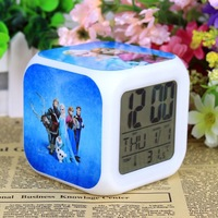 LED 7 Colors Change Digital Alarm Clock Frozen Anna and Elsa Thermometer Night Colorful Glowing Clock by DHL 100pcs/lot