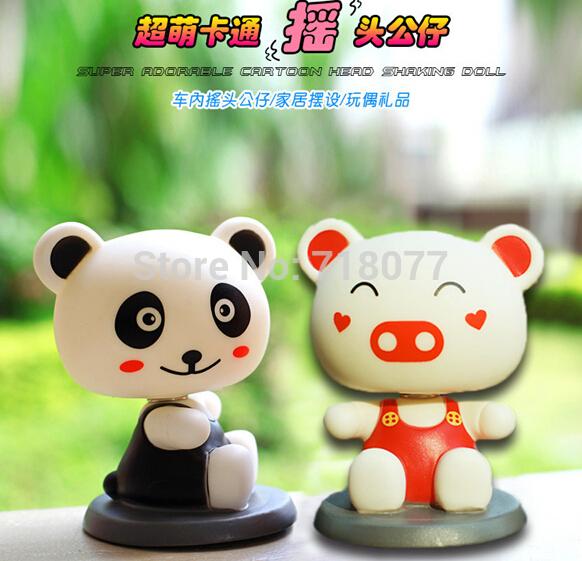 Hot New cheap car animal ornaments decoration creative bear pig automobile shaking head doll cartoon car ornaments free shipping(China (Mainland))