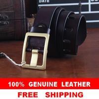Brass Buckle Fisrt Layer Cowhide Leather Belts For Men jeans Belt Mens Casual Quality Strap Cinto Masculino Ceinture MBT0231
