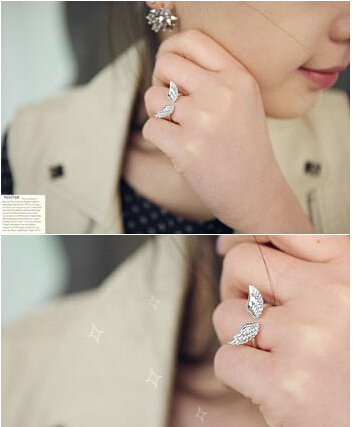 new Fashion Jewelry Connubial Angel Wings Couple Adjustable Opening Ring Wholesale(China (Mainland))