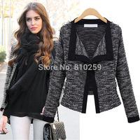 6004 free shipping 2014 women new fashion clothing black white long sleeve plus size knitted sweater cardigan jacket coats S-XL