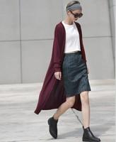 2014 fall fashion long warm sweater with neck women Sleeves Knit Trench Coat colete Cardigan feminino tricotado uk Knited Wear