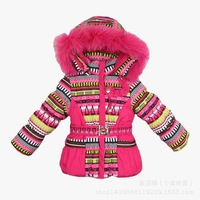 Free shipping retail new children's winter thick cotton down three sets of girls' ski suits Jackets