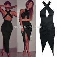 FASHION new women Black elegant bodycon dress sleeveless bandage dress for women evening party clubwear sexy party dress
