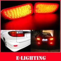 2X Red Lens LED Rear Bumper Reflector Backup Tail Brake Light for Toyota Estima