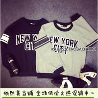 2014 autumn new fashion women Korean Institute of wind exclusive alphabetical trend bat T-shirt sweatshirt pullover top