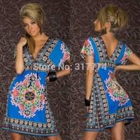 Wholesale Free Shipping Women Sexy Dress Party Dress Clubwear   blue rose white yellow  N155
