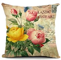sunflower rose floral cushion cover vintage home decor pillow cover retro decoration