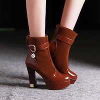 new 2014 high heel ankle boots heels platform women martin boots autumn red bottom shoes woman patent leather black brown blue