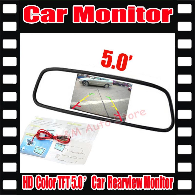 "Factory Wholesale Car HD Monitor 5"" Color TFT LCD Car Rearview Mirror Monitor 16:9 screen DC 12V Car Monitor for DVD Camera VCR(China (Mainland))"