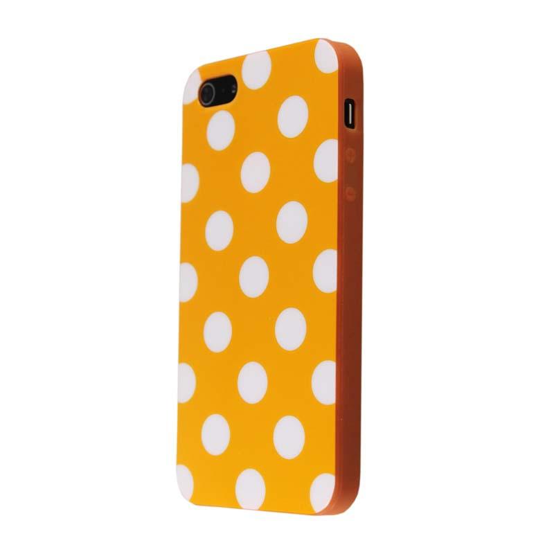 Orange&white Polka Dot Flex Gel TPU Case Cover for iphone 5 5S(China (Mainland))