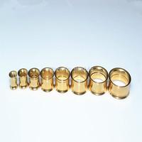 Lot 50pcs  Gold Ear Tunnels  Ear Plugs Ear Piercing Free Shippment Basic Style size 6-20mm