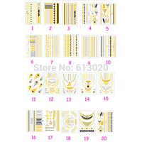 New 20 Patterns Per Sets Metallic Gold Flash Tattoo Temporary Tattoos Necklace