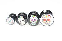 Fashion Skull Style Acrylic Ear Stretcher Ear plug Ear Tunnels  Body Piercing Body Jewelry Free Shippment