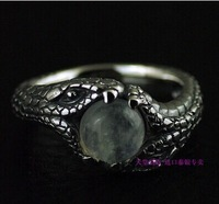 925 sterling silver Natural moonstone ring surface the double snake 925 sterling silver Thai silver ring