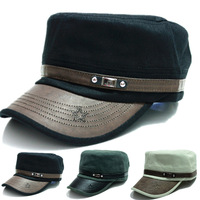 wholesale 2014 fashion fall winter  leather brim hat  Military Caps Army Hats men and women's  baseball caps Adjustable outdoor