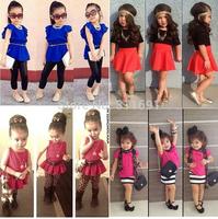 Retail 2014 NEW arrive children girls two pcs set fashion girls summer suit  4 model choose girls summer wear clothing set