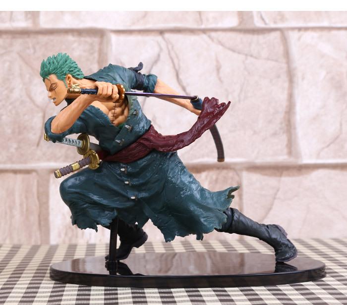 new One Piece Roronoa Zoro fighting style version Samurai sword 18CM PVC Action figures Genuine imitate pop Strip Remove toy(China (Mainland))