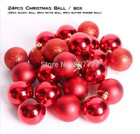 4cm Brand Christmas Ball 24pcs/box Glossy Ball Matte Ball Glitter Powder Ball Chirstmas Tree Decoration Gold Sliver Red Purple