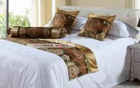 240cm x 50cm  bed runner +2pcs 50cm x 50cm Pillowcase high density Jacquard foot towel mat ornament star-rated hotels luxury
