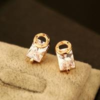 18K Rose gold plated earring brand stud earring shiny ZIRCON cc earring for women cc party brand design