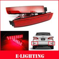 2x LED Bumper Reflector Red lens Tail Brake Light For Nissan Juke Murano Infiniti FX35 FX