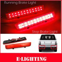 2X Red Lens LED Rear Bumper Reflector Tail Brake Stop Light for Range Rover Freelander LR2