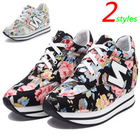 Canvas Flowers Fashion Wedges Sneakers,2 styles,Size 35~40,Height Increasing 5cm,Women`s Shoes