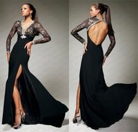 WLF118 Black Evening Dress Long Sleeve Prom Gowns Sexy Open Back Dress Front Split Evening Dresses China Vestidos de noiva