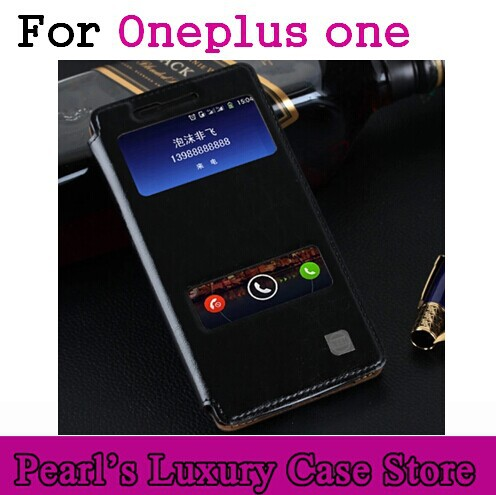 oneplus one flip leather cover case for oneplus one plus one mobile phone luxury flip cover case + double window free shipping(China (Mainland))