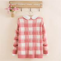 2014 fashion women's winter wool knitted plus size all-match loose plaid contrast color sweater warm pullover free shipping